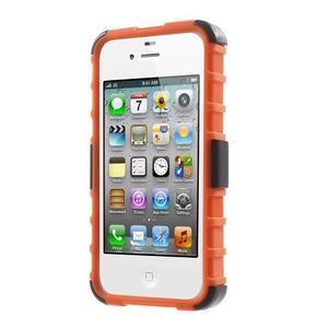 Outdoor odolný obal pre mobil iPhone 4 - oranžový - 2