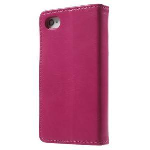 Moon PU kožené puzdro pre mobil iPhone 4 - rose - 2