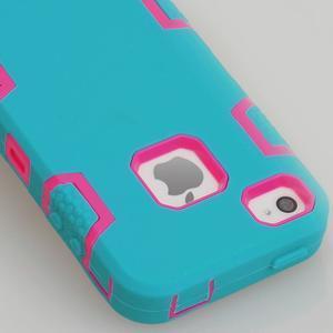 Silikonový odolný obal 3v1 na iPhone 4 - modrý - 2