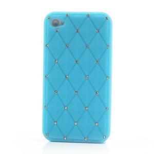 Diamonds silikonová obal na mobil iPhone 4 - světlemodrý - 2