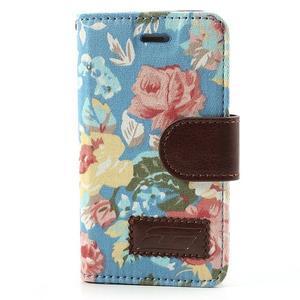 Elegantné PU kožené puzdro pre iPhone 4 - modré pozadí - 2