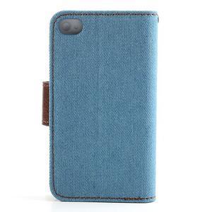 Jeans peněženkové pouzdro na iPhone 4 - světlemodré - 2