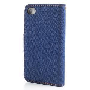 Jeans peněženkové pouzdro na iPhone 4 - modré - 2