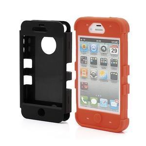 Extreme odolný kryt 3v1 na mobil iPhone 4 - oranžový - 2