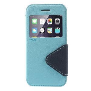 Peňaženkové puzdro s okienkom na iPhone 6 a 6s - svetlomodré - 2