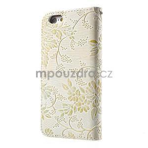 Elegantné kvetinové peňaženkové puzdro na iPhone 6 a 6s - biele - 2