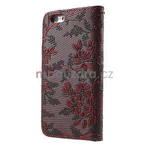 Elegantné kvetinové peňaženkové puzdro na iPhone 6 a 6s - červenohnedá - 2