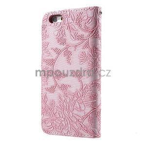 Elegantné kvetinové peňaženkové puzdro pre iPhone 6 a 6s - ružové - 2