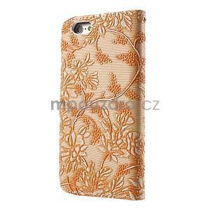 Elegantné kvetinové peňaženkové puzdro na iPhone 6 a 6s - oranžové - 2