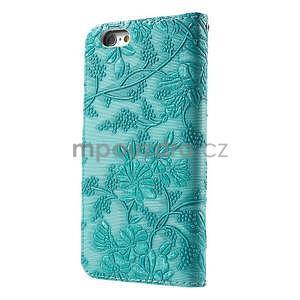 Elegantné kvetinové peňaženkové puzdro pre iPhone 6 a 6s - tyrkysové - 2