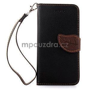 PU kožené peňaženkové puzdro pre iPhone 6s a 6 - čierne - 2