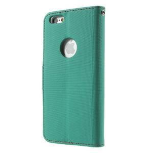 Peňaženkové koženkové puzdro na iPhone 6s a 6 - zelené - 2