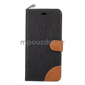 Látkové / koženkové peňaženkové puzdro na iphone 6s a 6 - čierne - 2