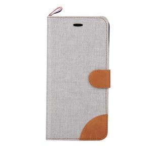 Látkové / koženkové peňaženkové puzdro pre iphone 6s a 6 - sivé - 2