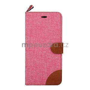 Látkové / koženkové peňaženkové puzdro pre iphone 6s a 6 - ružové - 2