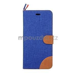 Látkové / koženkové peňaženkové puzdro na iphone 6s a 6 - modré - 2