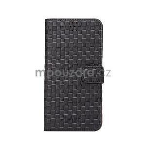 Mriežkovaného koženkové puzdro pre iPhone 6 a iPhone 6s - čierne - 2