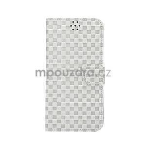 Mriežkovaného koženkové puzdro pre iPhone 6 a iPhone 6s - biele - 2