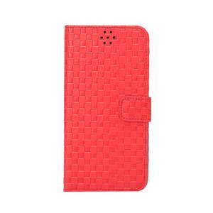 Mriežkovaného koženkové puzdro pre iPhone 6 a iPhone 6s - červené - 2