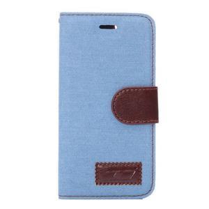 Jeans látkové/pu kožené peňaženkové puzdro na iPhone 6 a 6s - svetlomodré - 2