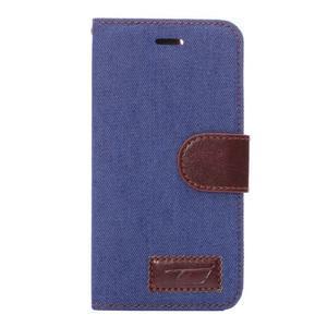 Jeans látkové/pu kožené peňaženkové puzdro pre iPhone 6 a 6s - modré - 2