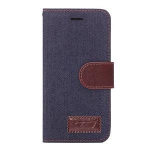 Jeans látkové/pu kožené peňaženkové puzdro na iPhone 6 a 6s - tmavomodré - 2