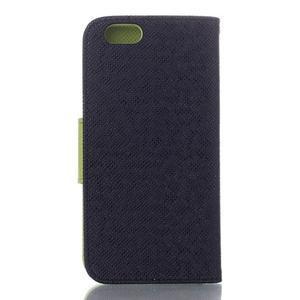 Dvojfarebné peňaženkové puzdro pre iPhone 6 a iPhone 6s - čierne/ zelené - 2
