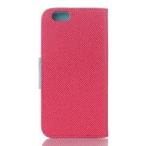 Dvojfarebné peňaženkové puzdro pre iPhone 6 a iPhone 6s - rose/cyan - 2