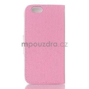 Dvojfarebné peňaženkové puzdro pre iPhone 6 a iPhone 6s - ružové/biele - 2