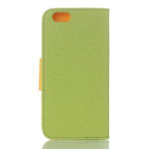 Dvojfarebné peňaženkové puzdro pre iPhone 6 a iPhone 6s - zelené/ žlté - 2