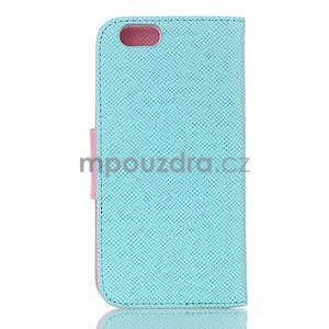 Dvojfarebné peňaženkové puzdro pre iPhone 6 a iPhone 6s - cyan/ružové - 2