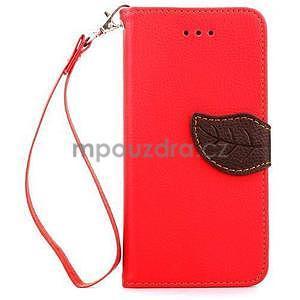 PU kožené peňaženkové puzdro pre iPhone 6s a 6 - červené - 2