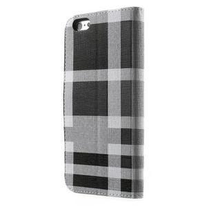 Kárované peňaženkové puzdro pre iPhone 6 Plus a 6s Plus - čiernobiele - 2