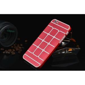 Štýlový kryt s kovovými chrbtom pre iPhone 6 Plus a 6s Plus - červený - 2