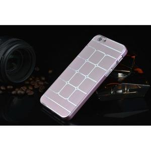 Štýlový kryt s kovovými chrbtom pre iPhone 6 Plus a 6s Plus - ružový - 2