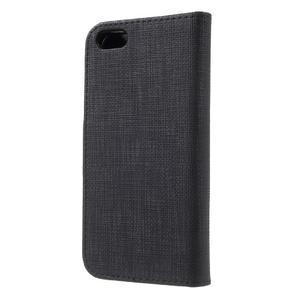 Cloth PU kožené puzdro pre iPhone SE / 5s / 5 - čierne - 2