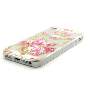 Transparentný gélový obal pre mobil iPhone SE / 5s / 5 - ruže - 2