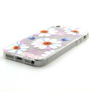Transparentný gélový obal pre mobil iPhone SE / 5s / 5 - kvetinky - 2