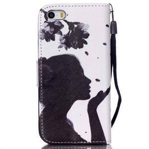 Peňaženkové puzdro pre mobil iPhone SE / 5s / 5 - dievča s kvetinou - 2