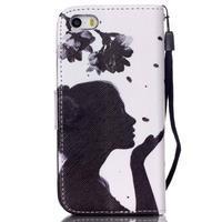 Peňaženkové puzdro pre mobil iPhone SE / 5s / 5 - dievča s kvetinou - 2/7