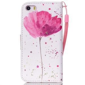 Peňaženkové puzdro pre mobil iPhone SE / 5s / 5 - makový kvet - 2