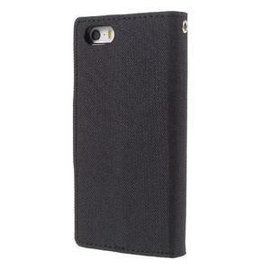 Canvas PU kožené/textilní pouzdro na mobil iPhone SE / 5s / 5 - černé - 2