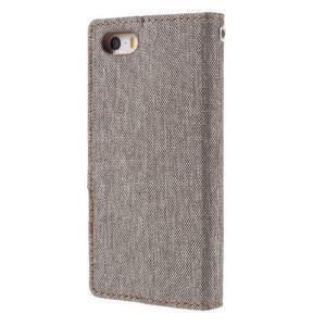 Canvas PU kožené/textilní pouzdro na mobil iPhone SE / 5s / 5 - šedé - 2
