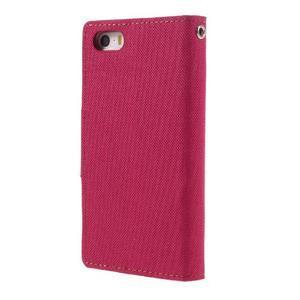 Canvas PU kožené/textilní pouzdro na mobil iPhone SE / 5s / 5 - červené - 2