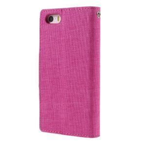 Canvas PU kožené/textilní pouzdro na mobil iPhone SE / 5s / 5 - rose - 2