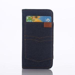 Jeans peňaženkové puzdro pre mobil iPhone SE / 5s / 5 - tmavomodré - 2