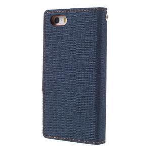 Canvas PU kožené/textilné puzdro pre mobil iPhone SE / 5s / 5 - tmavomodré - 2