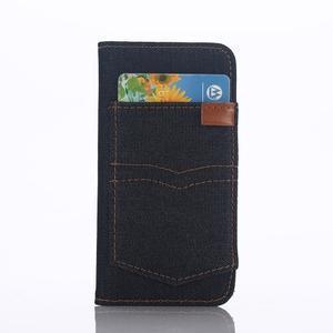 Jeans peňaženkové puzdro pre mobil iPhone SE / 5s / 5 - čiernomodré - 2