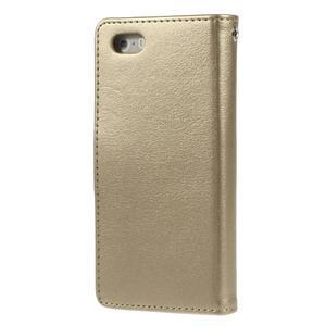 Rich diary PU kožené pouzdro na iPhone SE / 5s / 5 - zlaté - 2