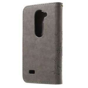 Buttefly PU kožené pouzdro na mobil LG Leon - šedé - 2